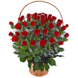 Kosz 50 róż Telekwiaciarnia