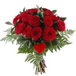 Bukiet 18 róż z sercem Telekwiaciarnia